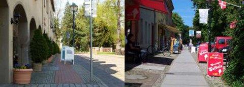 Einerseits: Weg mit Aufstellern verstellt              Andererseits: trotz Aufstellern ist Platz für alleDas zweigeteilte Foto zeigt links einen deutlich markierten Fußweg, der jedoch, neben den links stehenden Blumentöpfen und den rechts befindlichen Lichtmasten, zusätzlich mit Werbeaufstellern verstellt ist. Dagegen zeigt das rechte Bild einen Fußweg, bei dem am linken Rand Tische und Stühle sowie Fahrradständer zu sehen sind und am rechten Rand Aufsteller zu sehen sind. Die Mitte des Fußweges wird jedoch für Rollstühle, Kinderwagen usw. frei gehalten sind.