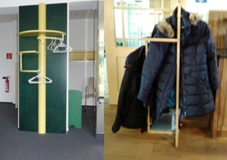 Kleiderhaken in verschiedenen Höhen