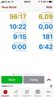 Bild von der Walk-Aufzeichnung 6,09 km in knapp 56:17 Minuten