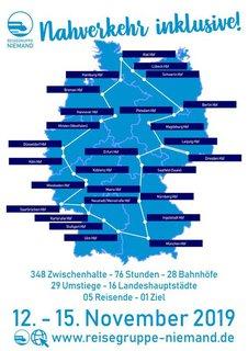 Tourkarte für die Bahntour vom 12. - 15. November 2019 unter dem Motto Nahverkehr inklusive!