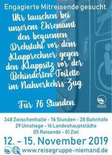 Plakat Mitreisende gesucht
