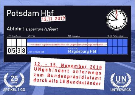 Anzeigentafel für die Abfahrt am 12.11. um 5:38 Uhr in Potsdam