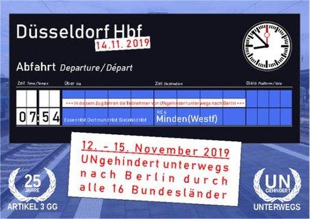 Anzeigentafel Düsseldorf 14.11.2019 7:54 Uhr Abfahrt nach Minden (Westfalen)