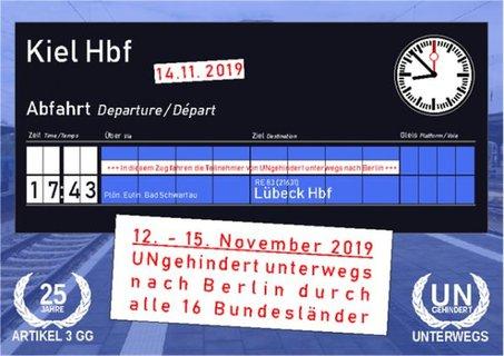 Anzeigentafel Kiel Abfahrt 17:43 Uhr nach Lübeck