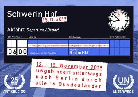 Anzeigentafel Zugabfahrt von Schwerin nach Berlin um 6:00 Uhr