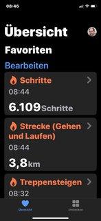 Übersicht des Schrittzählers: 6.109 Schritte und 3,8 km