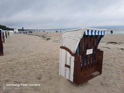 Bild vom Strand mit Strandkorb am Seebad Binz
