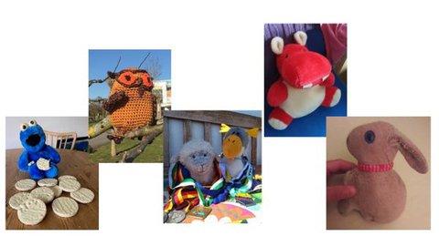 Collage der ausgezeichneten Kuscheltiere: Krümmelmonster, Eulalia, Miss Woelke und Mister Pinguinen, Rossi und Hasi