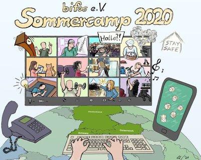 Zeichnung von Marleen Soetandi zum Abschluss des Sommercamps mit vielen gut getroffenen Details der Veranstaltung