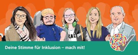 Zeichnung von bekannten Aktivist*innen mit Text: Deine Stimme für Inklusion - mach mit!