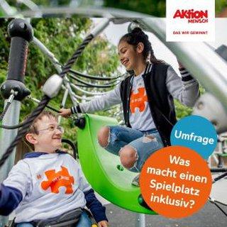 Plakat zur Aktion Mensch Umfrage: Was macht einen Spielplatz inklusiv