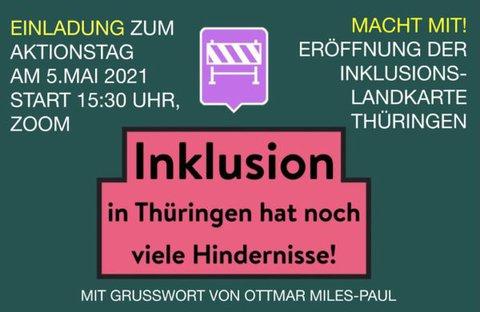 Plakat der Veranstaltung zur Inklusionslandkarte Thüringen