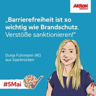 Aktion Mensch Plakat zum 5. Mai: Barrierefreiheit ist so wichtig wie Brandschutz: Verstöße sanktionieren!